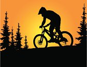 Silhouette of downhill mountain biker riding through the trees at sunset. Bike is separate from the background.