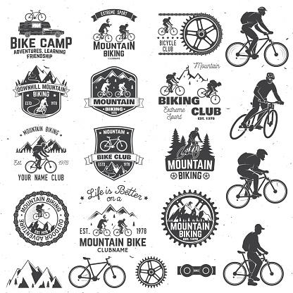 Mountain biking collection. Vector illustration