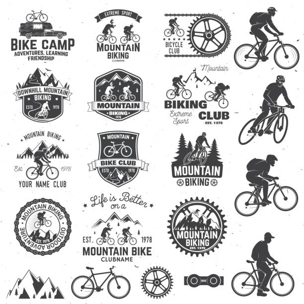 Mountain biking collection. Vector illustration Set of Mountain biking clubs emblem with design element. Vector illustration. Concept for head badges, shirt, print, stamp. Mountain biking man riding on bikes silhouette. Outdoor sport activity. mountain biking stock illustrations