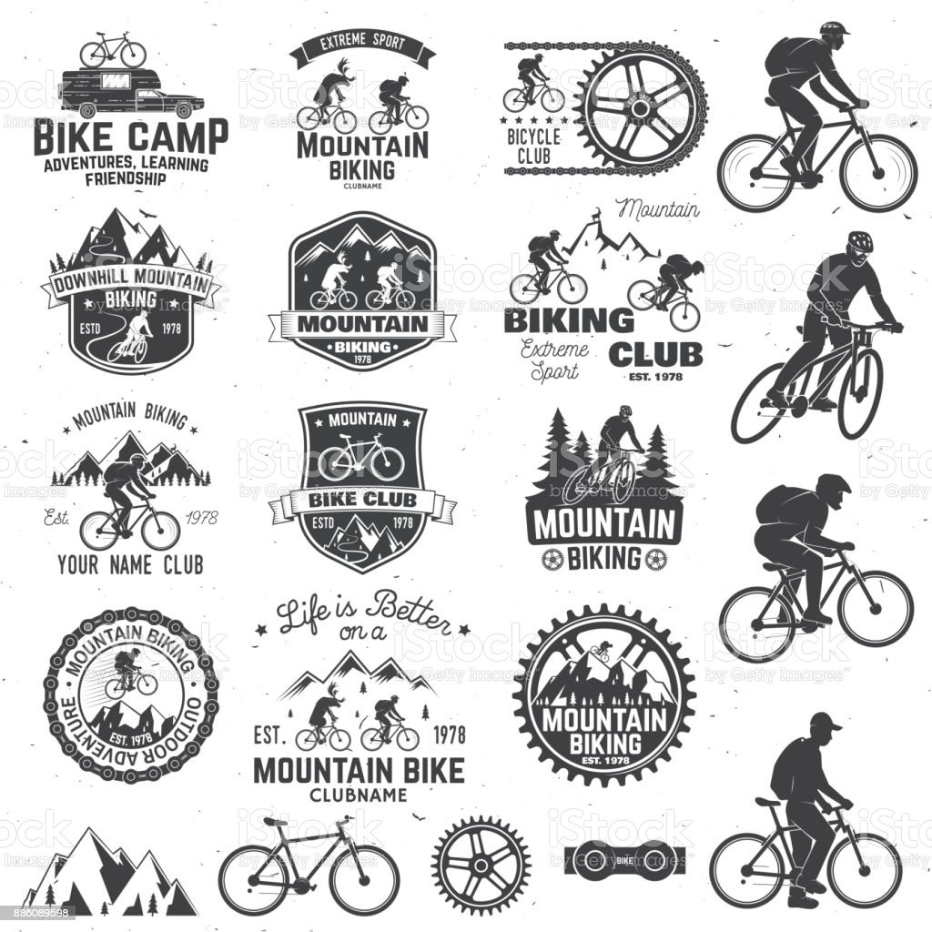 Mountain biking collection. Vector illustration - illustrazione arte vettoriale
