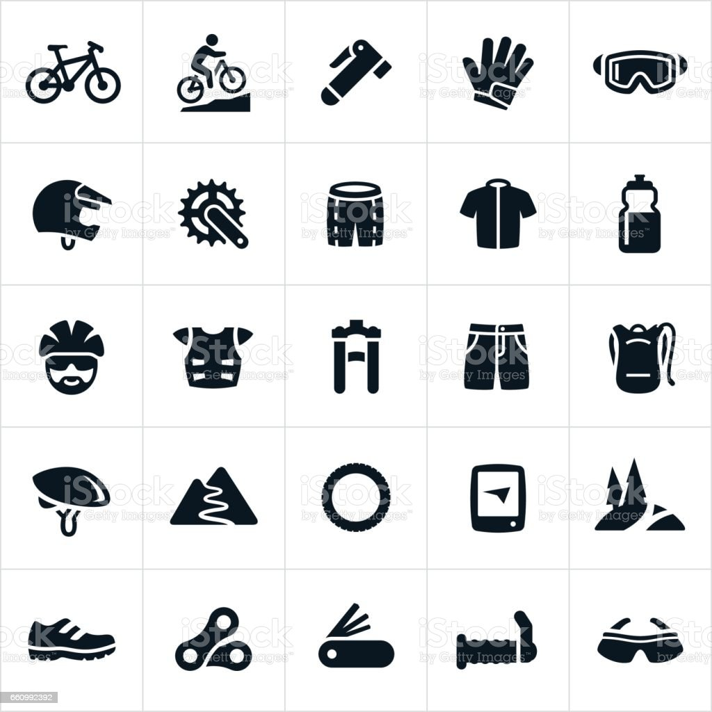 Mountain Biking Icons vector art illustration
