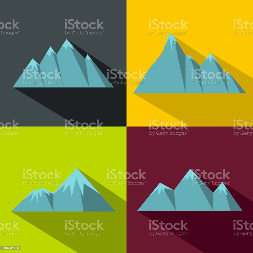 Mountain blue icons with long shadow on color background ilustração de mountain blue icons with long shadow on color background e mais banco de imagens de atividade royalty-free