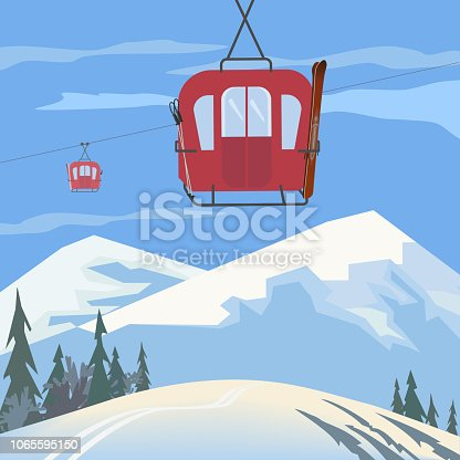 Mountain cabel car. Retro ski cabelway icon. Mountain snow ski resort poster background concept. Winter extreme skiing sport, fun activity advertisement template. Nature outdoor vector illustration