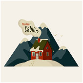 istock Mountain cabin. Red house in snowy mountains on light background 1271373977