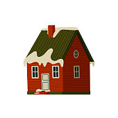 istock Mountain cabin. Red house in snowy mountains on light background 1346334814