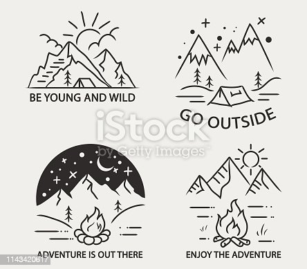Simple line illustration of mountain camping theme.