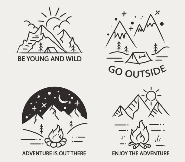 ilustrações de stock, clip art, desenhos animados e ícones de mountain camping simple line illustration - camping