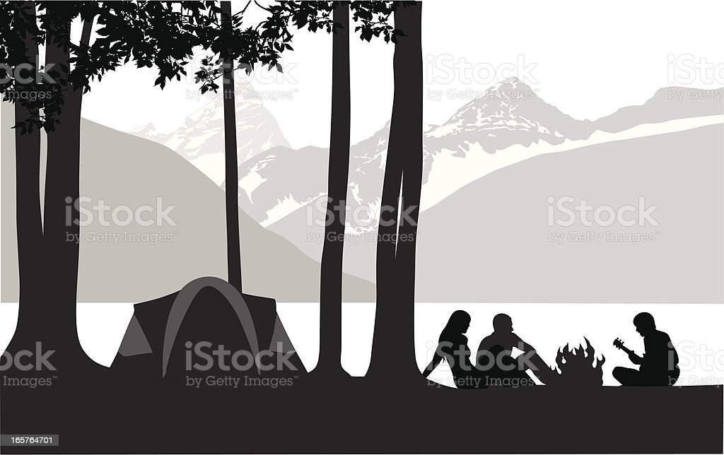 Mountain' Camping Vector Silhouette royalty-free mountain camping vector silhouette stock vector art & more images of adult