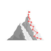 Mountain climb path challenge journey base infographic. Vector growth camp mountain climb way map.