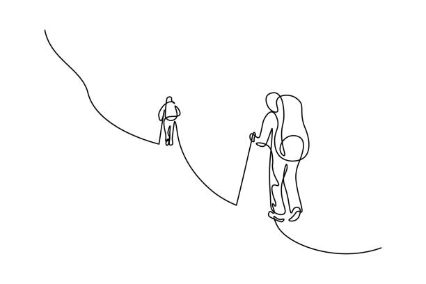 Mountain climbers Mountain climbers in continuous line art drawing style. Two backpackers ascending mountain. Hiking and mountaineering. Black linear sketch isolated on white background. Vector illustration hiking stock illustrations
