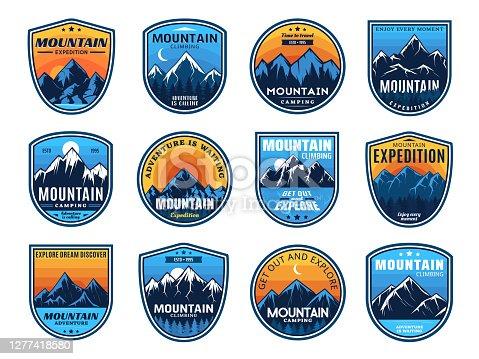 istock Mountain climbing, camping travel icons, tourism 1277418580