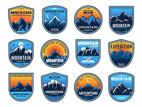 Mountain climbing, camping travel icons, tourism