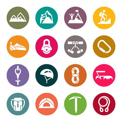 Mountain climbing colourful vector icons
