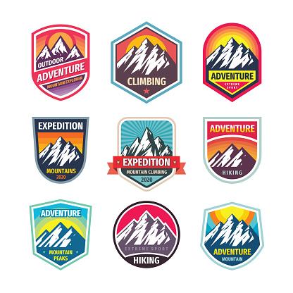 Mountain climbing - design badge set. Adventure outdoor creative vintage emblem collection. Vector illustration.