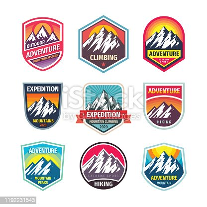 Mountain climbing - design badge set. Adventure outdoor creative vintage emblem collection. Vector illustration.