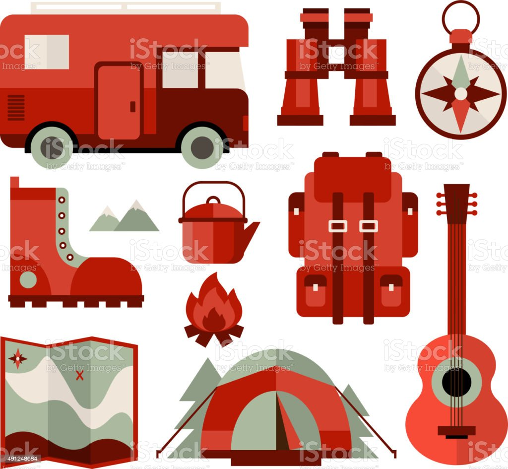 Mountain Climbing Hiking And Camping Equipment Icons In Flat Royalty Free Stock
