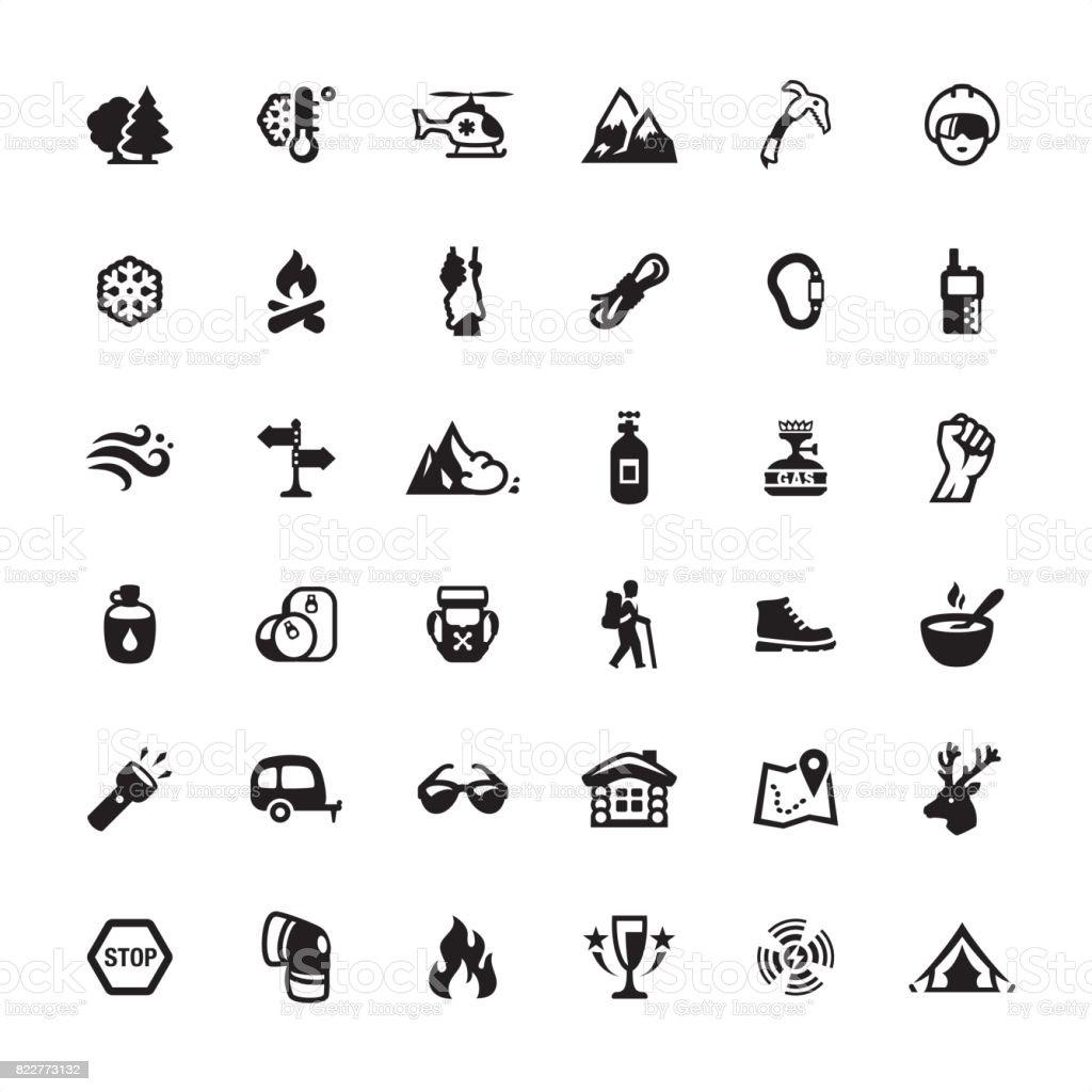Mountain Climbing icons set vector art illustration