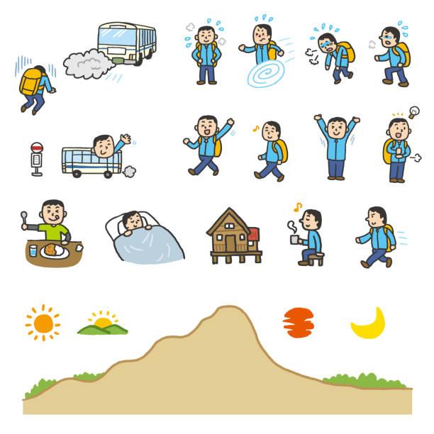 Mountain climbing icons vector art illustration