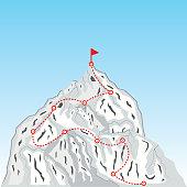 Mountain climbing illustration. Mountain climbing route. Business climbing to the top concept. Vector. eps.10.