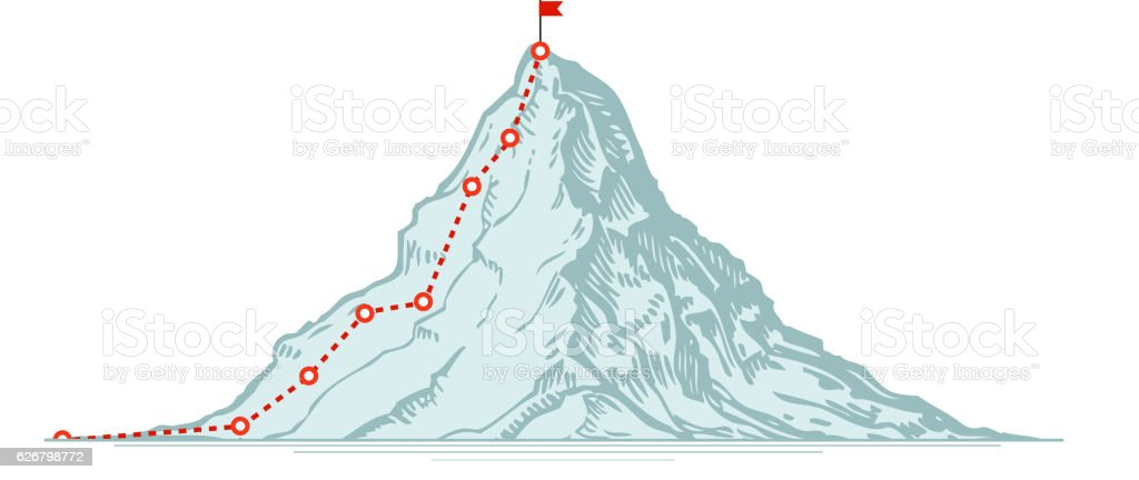 Mountain climbing route. Business vector illustration vector art illustration