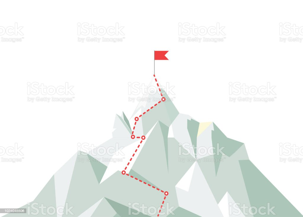 Mountain climbing route to peak. Business journey path in progress to peak of success. Climbing road to top. Vector illustration. - Royalty-free Alcançar arte vetorial