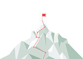 Mountain climbing route to peak. Business journey path in progress to peak of success. Climbing road to top. Vector illustration