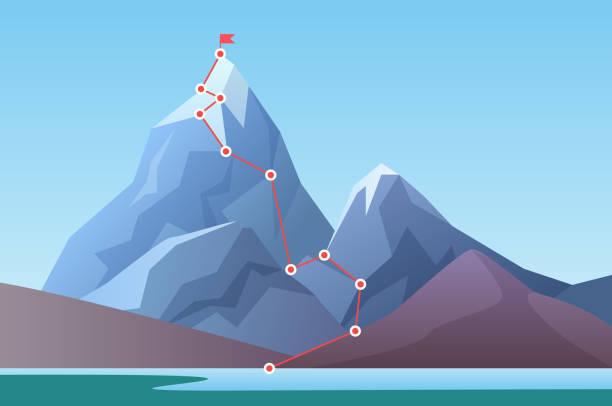 zirve dağcılık giden yol. i̇ş ilerleme motivasyon, disiplin ve başarı kavramı vektör çizim hedef. çizgi film dağ tepe, rota rock tepesine tırmanma. - dağcılık stock illustrations