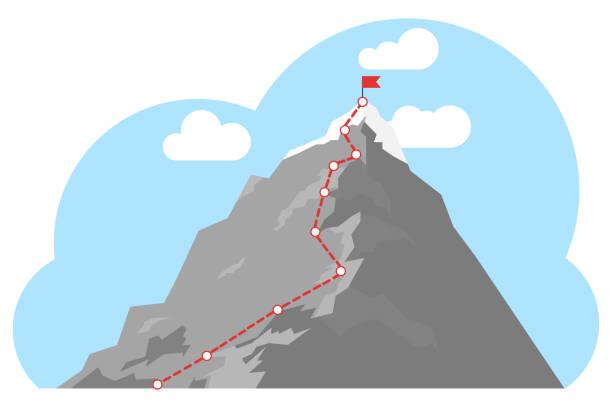 산봉우리까지 등산 루트. 붉은 깃발을 가진 산 꼭대기. 비즈니스 성공 개념입니다. 성공 컨셉으로 진행 중인 비즈니스 여정 경로. - mountain top stock illustrations