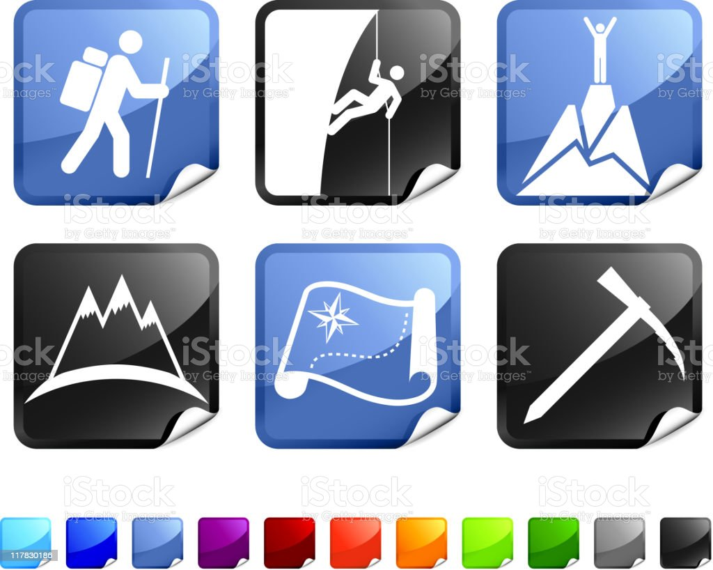 mountain climbing royalty free vector icon set stickers royalty-free stock vector art