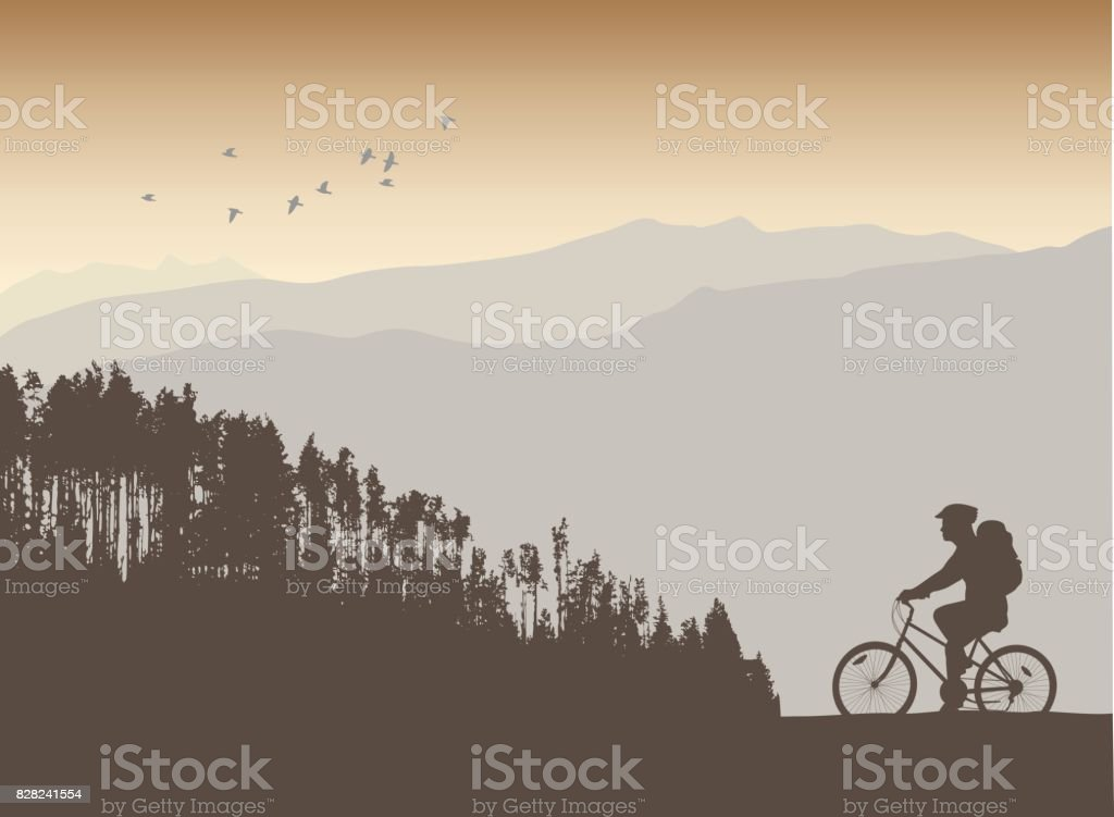 Mountain Cycle Path vector art illustration