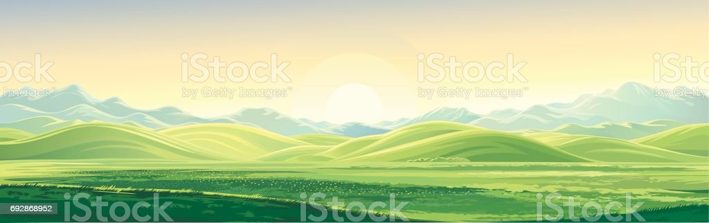 Mountain dawn landscape vector art illustration