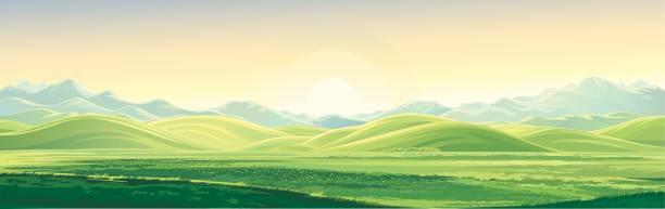 山黎明風景 - 全景 幅插畫檔、美工圖案、卡通及圖標