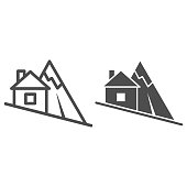Mountain descent line and solid icon, World snowboard day concept, ski tracks sign on white background, steep descent for skiing icon in outline style for mobile and web design. Vector graphics