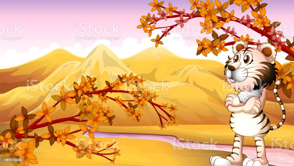Mountain during autumn royalty-free stock vector art