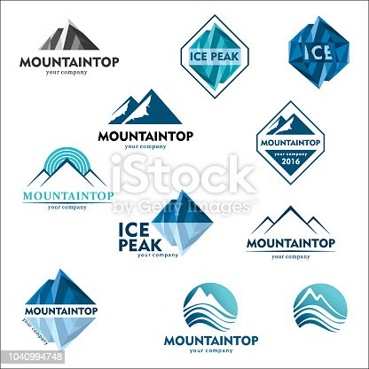 Mountain emblem, vector design concept for ski sports, tourism, active leisure