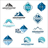 Mountain emblem, vector design concept for ski sports, tourism, active leisure