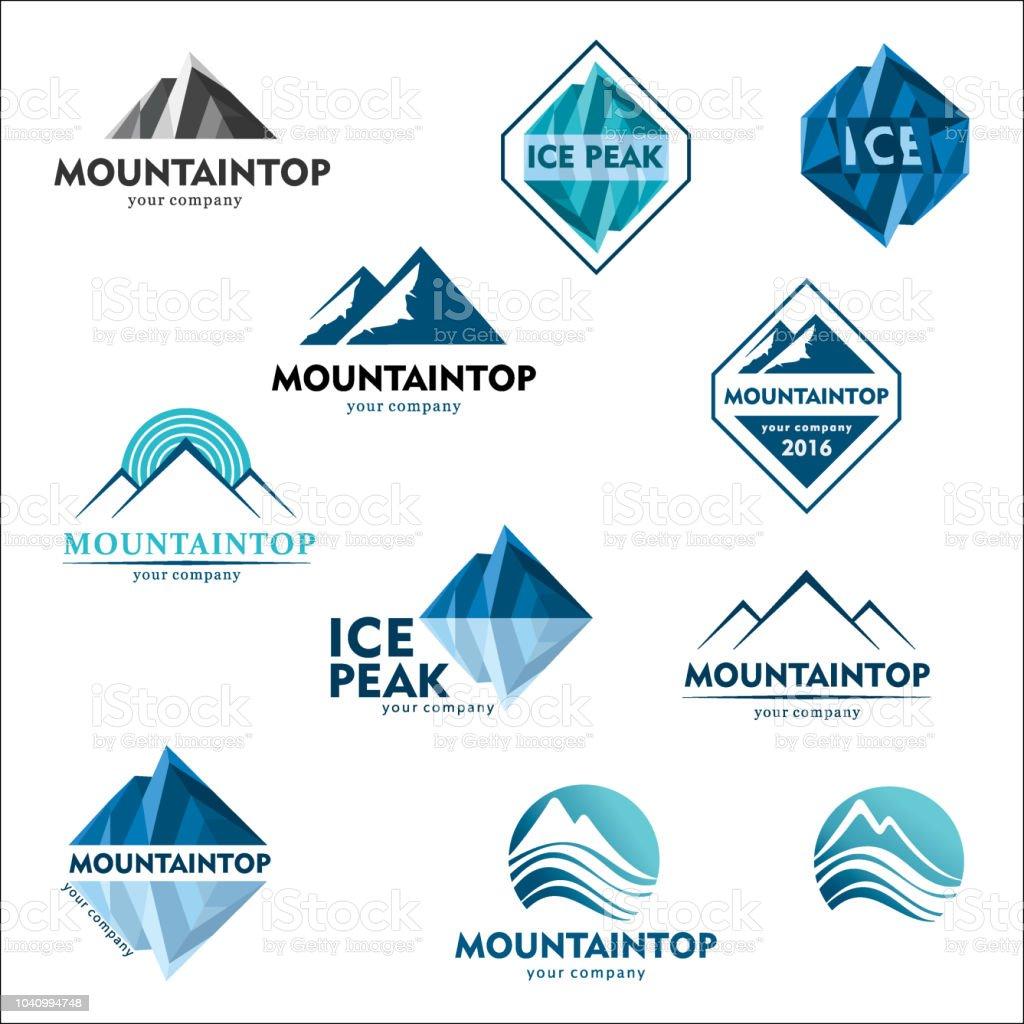 Mountain emblem, vector design concept for ski sports, tourism, active leisure. Icon set vector art illustration