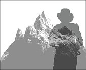 A vector silhouette illustration of a transparent male hiker carrying a backback with equipment over a snow capped mountain peak.