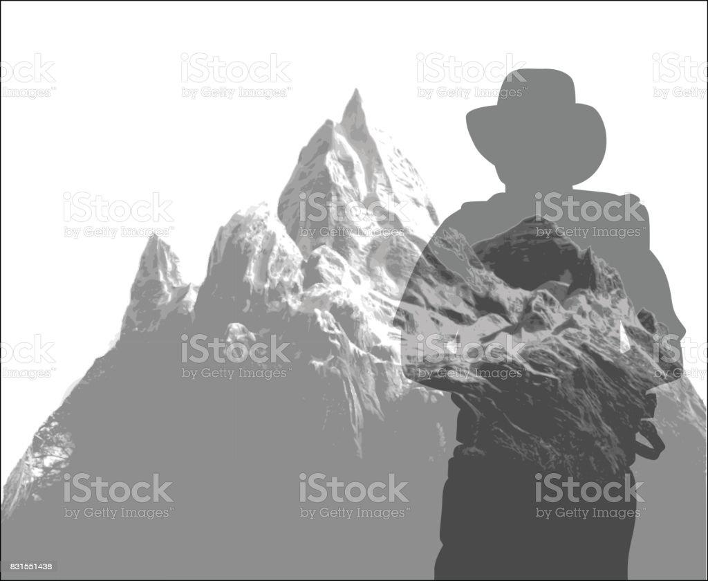Mountain Expedition vector art illustration
