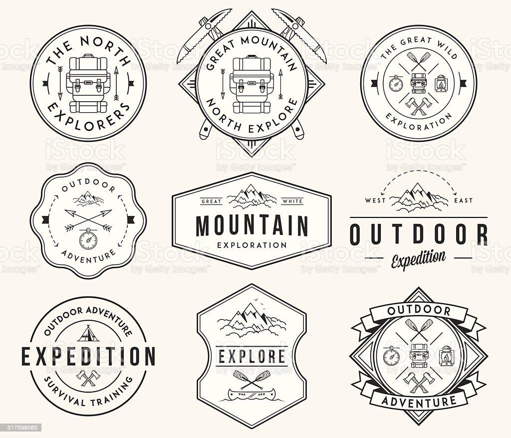 Mountain exploration black on white vector art illustration