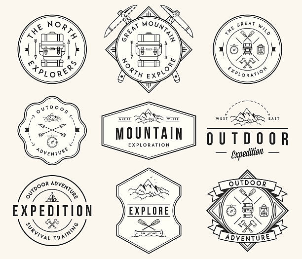 Mountain exploration black on white Exploration vector badges and labels for any use adventure patterns stock illustrations