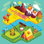 National Park Mountain Camping Landscape. NEW bright palette 3D Flat Vector Isometric Set. Tent near the River Best Autumnal Vacations