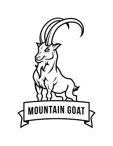 Mountain goat character cut out outline emblem