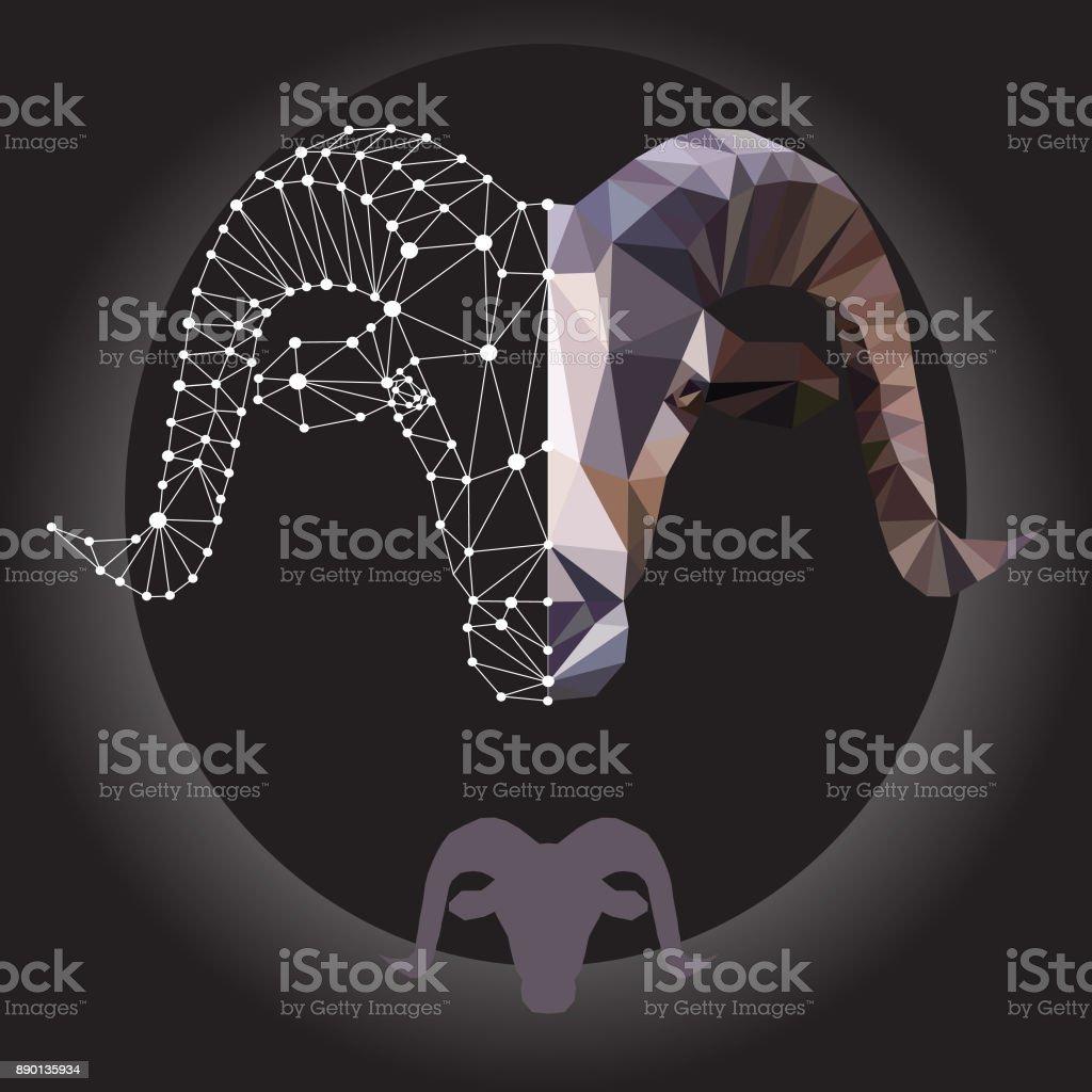 mountain goat head vector art illustration