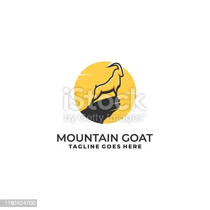Mountain Goat Illustration Vector Template. Suitable for Creative Industry, Multimedia, entertainment, Educations, Shop, and any related business.