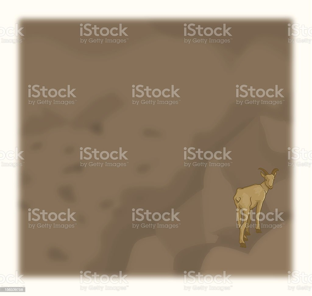 Mountain Goat on a rock royalty-free stock vector art