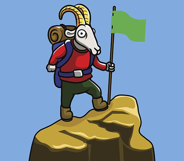 mountain goat - bergziegen stock-grafiken, -clipart, -cartoons und -symbole