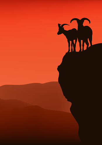 mountain goats at sunset cliff vector silhouette lanscape