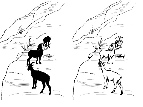 Mountain Goats Family Unit Silhouette