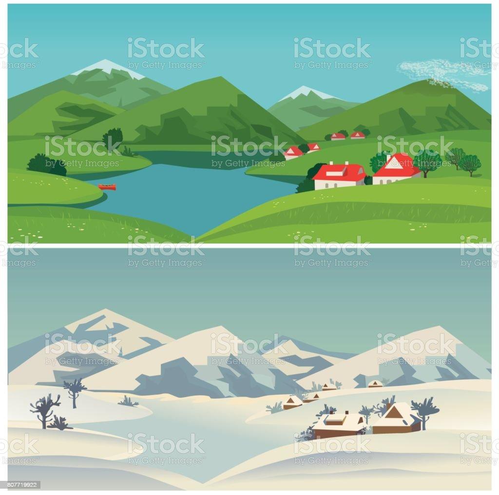 Mountain green valley landscape vector art illustration